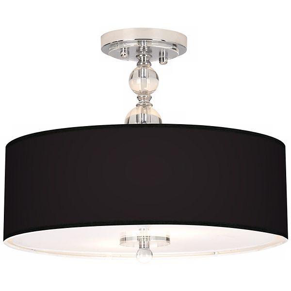 chrome all black drum shade semi flush ceiling light eun7956