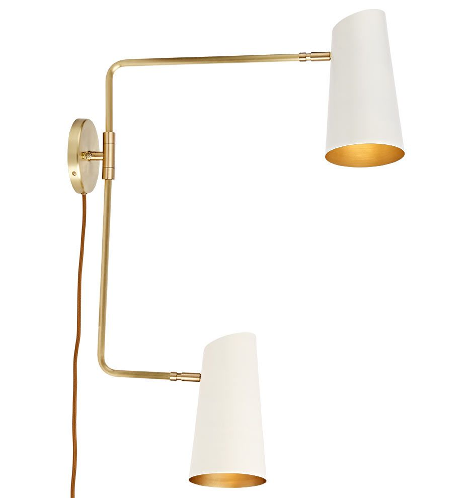 Cypress Double Swing Arm Sconce Plug In Brushed Satin Or Oil Rubbed Bronze With Satin White Shades A6013 Sconces