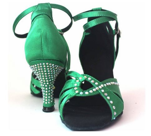 $80.00 Bling up your ballroom a bit with these eye-catching ballroom dance shoes in bright gem-inspired hues.
