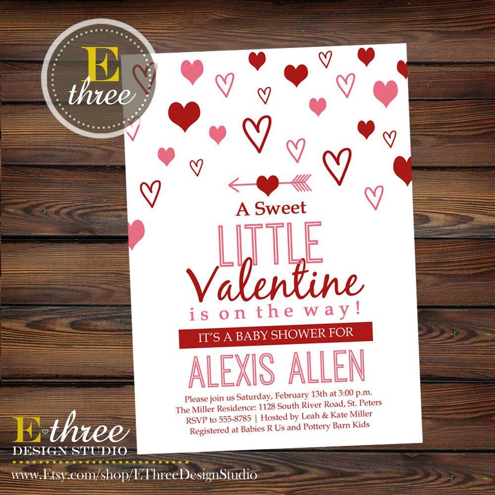 Valentine\'s Day baby shower invitation - red and pink shower invite ...