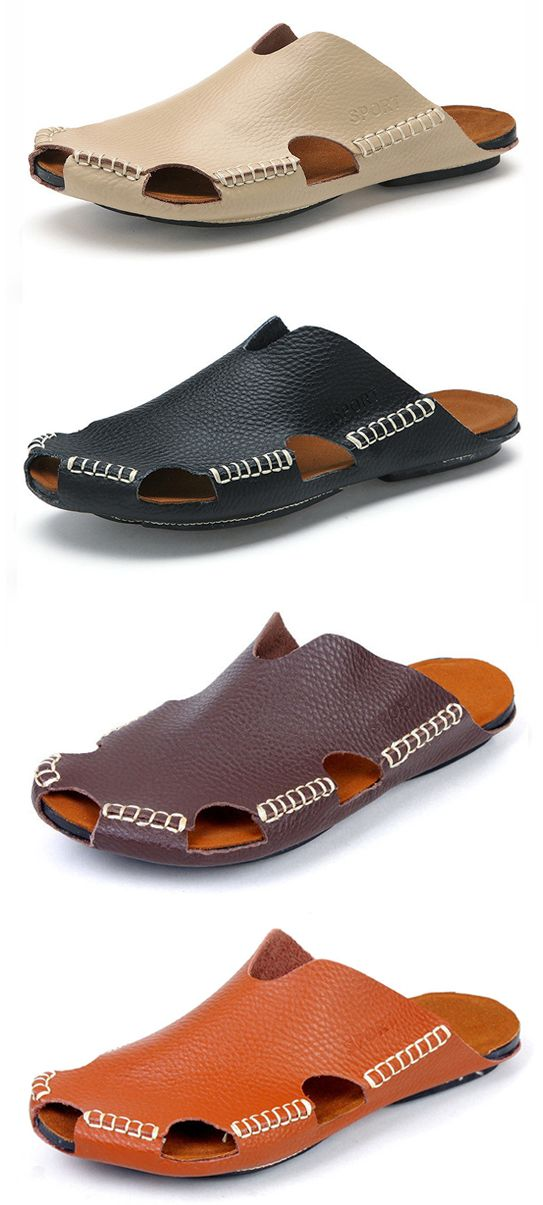 Men Stitching Holow Out Soft Sandals Breathable Backless Loafers ... ea26371df0d