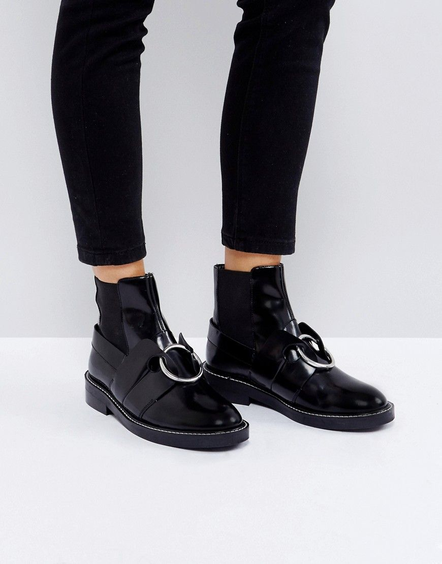 6f5d0fc59dd ASOS ADEL Leather Ring Ankle Boots - Black | Lookbook in 2019 ...