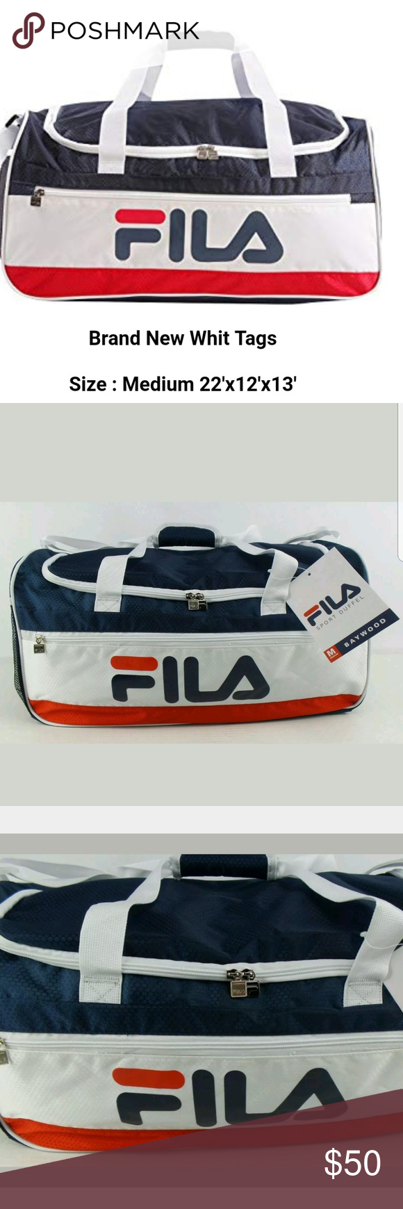 NEW Fila BayWood Sports Duffle Gym Bag. NEW Fila BayWood Sports Duffle Gym  Bag. Brand New Whit Tags Size   Medium 22 x12 x13  Fila Other 950528f649991
