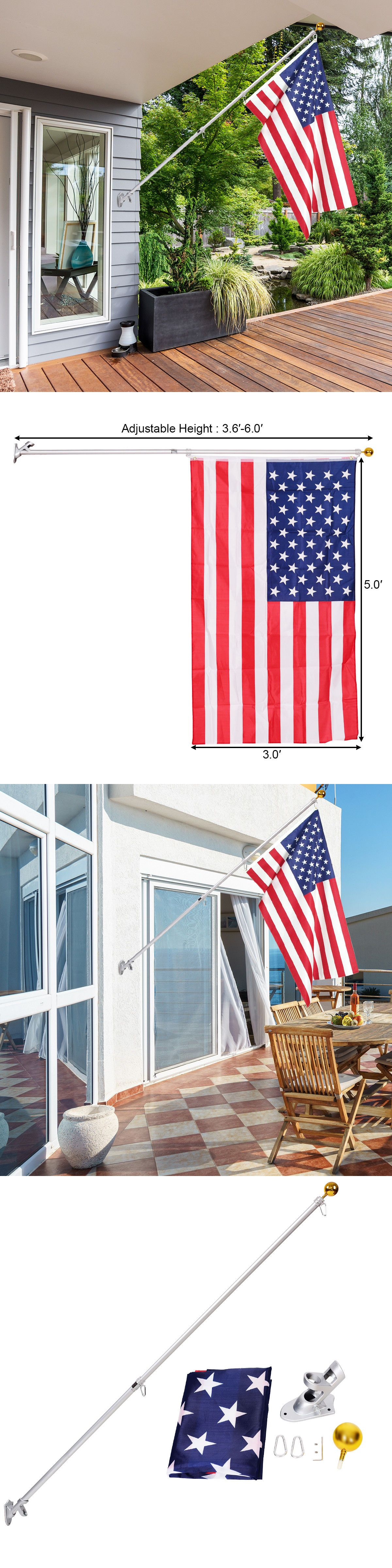Flag Poles And Parts 43536 American Flag Pole Kit Wall Mount 6 Ft Spinning 3 X5 Us Flag Gold Ball Aluminum Buy It Now Only Flag Pole Kits Flag Pole Flag