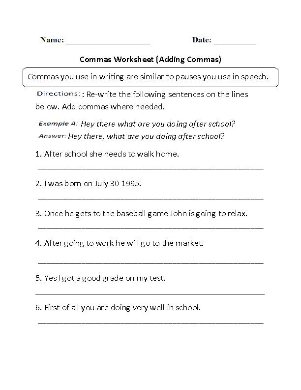Adding Commas Worksheets Part 1 | Punctuation worksheets ...