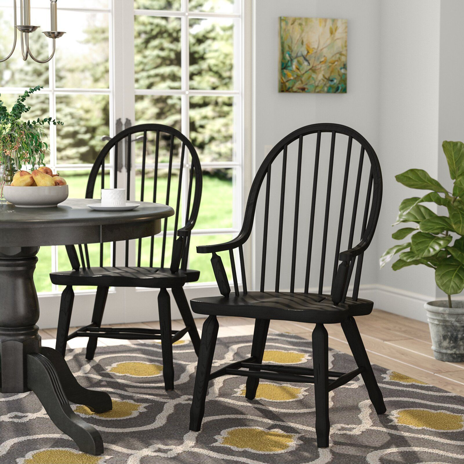 August Grove Koffler Windsor Back Arm Chair Dining Chairs Side Chairs Farmhouse Dining Room