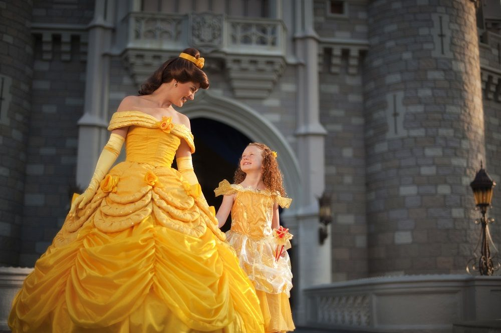 Belle and little girl at the Cinderella Castle