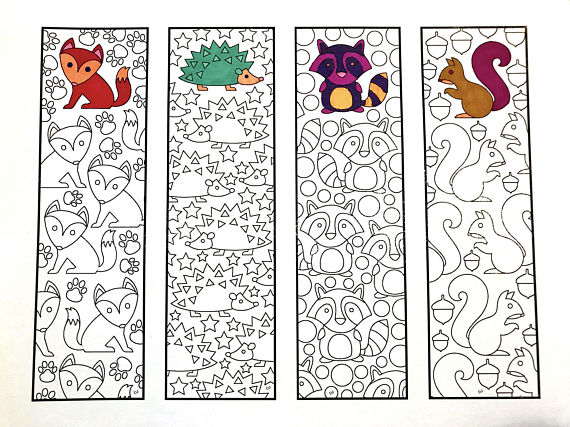 One 8.5x11 PDF coloring page of 4 bookmarks with cute ...