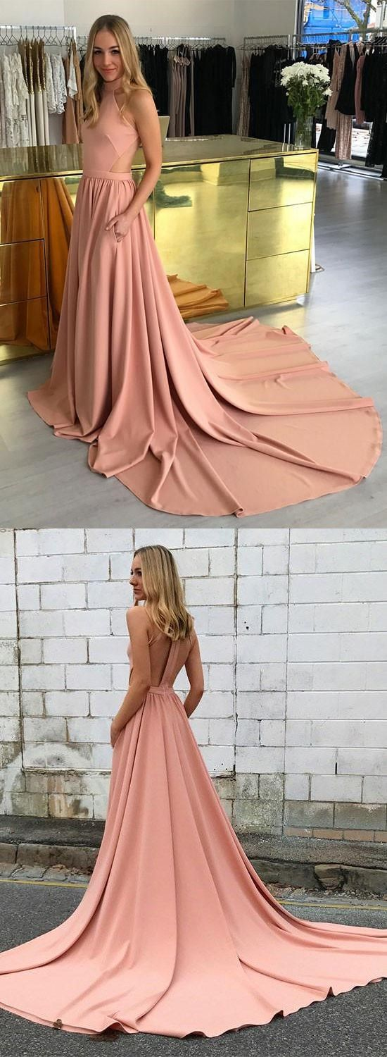 Amazing pink high neck long prom dress pink evening dresses f