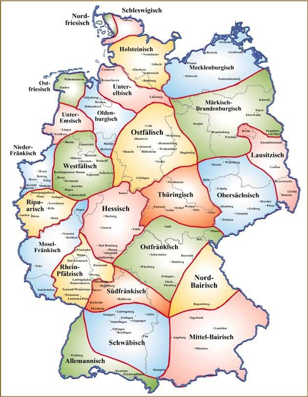 Map Of Deutschland Germany.Map Of Dialects In Germany Maps German Language Learn German Map