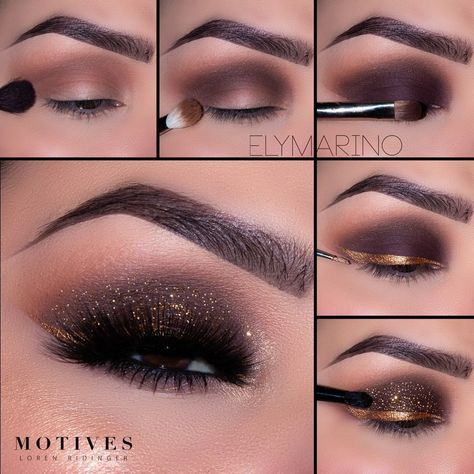 try this gold glam eye look from elymarino for nye 1