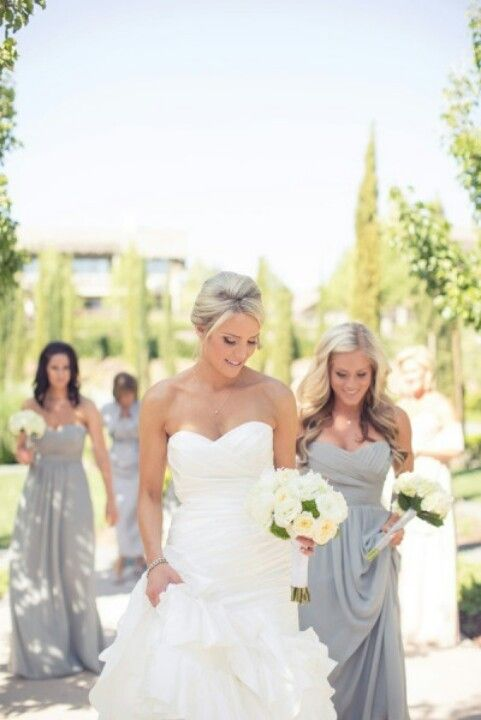 Bridesmaids dresses-love this...light yellow and ivory flowers, gray ...