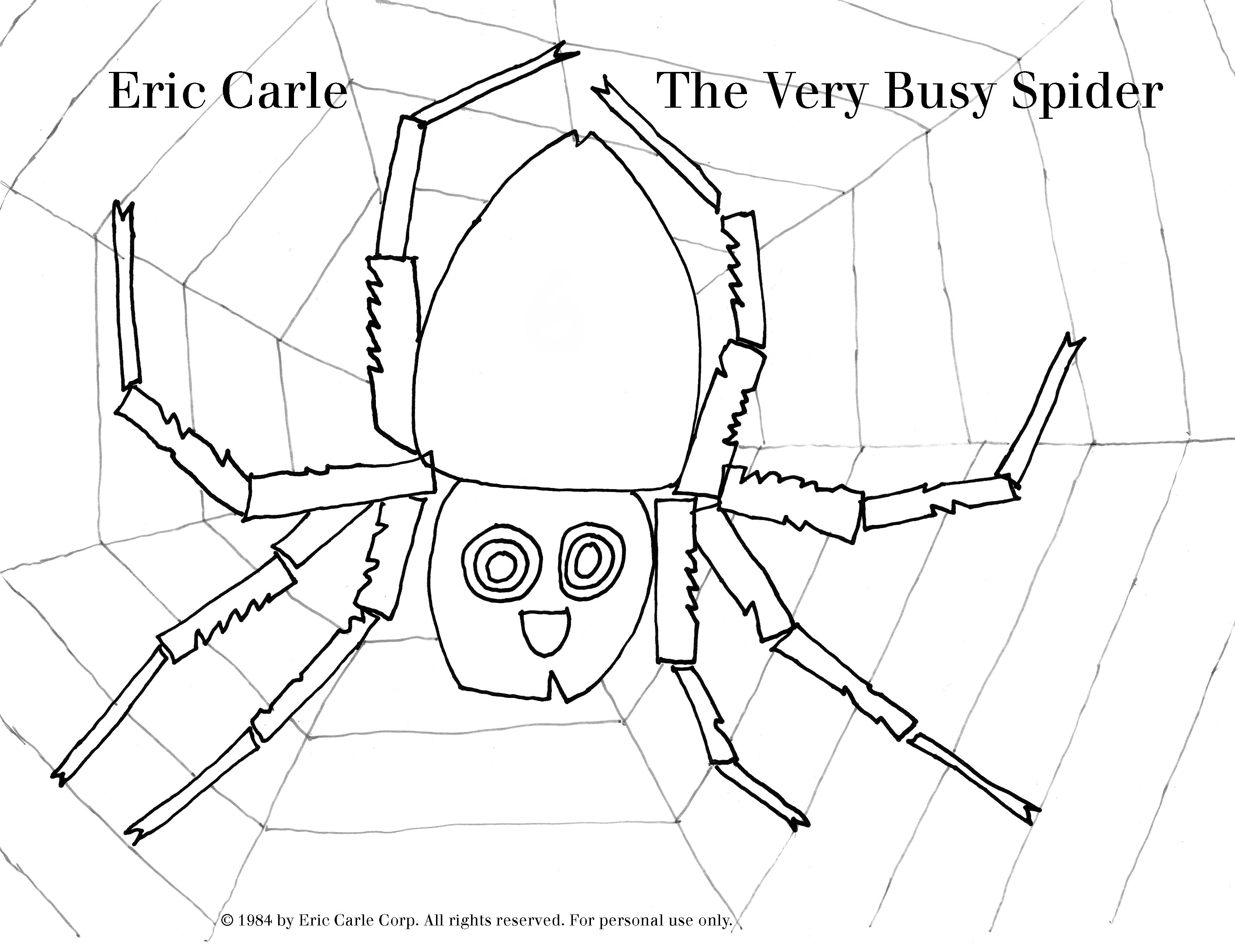 Numbers 1 for stylish free printable color by numbers coloring pages - The Very Busy Spider Eric Carle Coloring Sheet