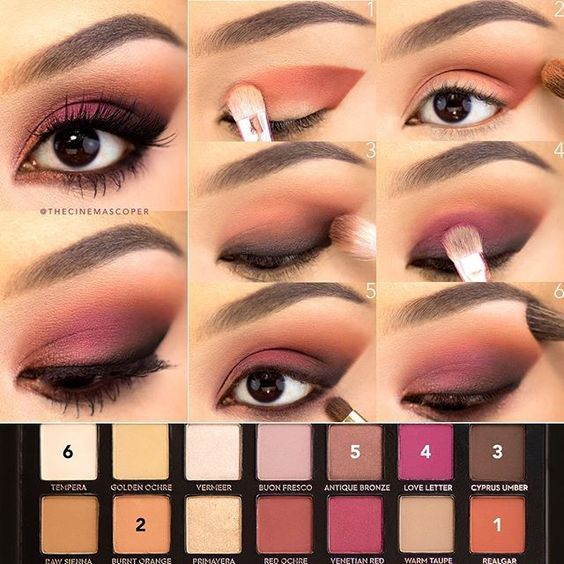 I have to show some love to the @anastasiabeverlyhills Modern Renaissance palette! ❤️ These are some of my favorite eyeshadow colors, so I combined orange and berry for the fun smokey eye in today's tutorial! To start, I primed my lids and set them with an eyeshadow one shade lighter than my skin tone. 1. With a flat shader brush (this is from the @zoevacosmetics Rose Golden set), I applied Realgar in a winged shape, starting in the outer corner and sweeping it toward the inner corner. I…
