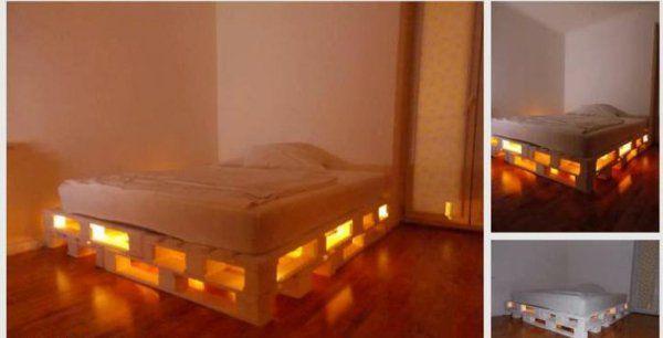 fabriquer lit de palette lumire unique et romantique - Lit En Palette De Bois Avec Lumiere