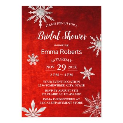 Winter Bridal Shower Snowflakes Elegant Red Card