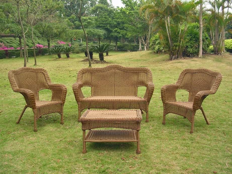 Narron 4 Piece Sofa Set Patio Loveseat Wicker Patio Furniture