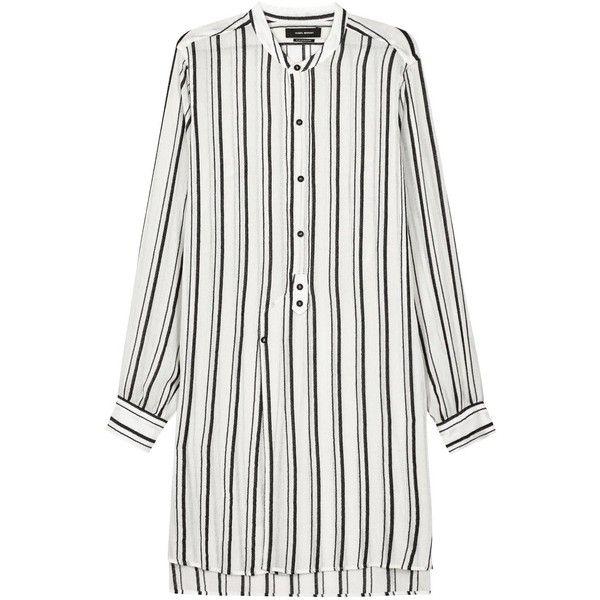 Womens Mini Dresses Isabel Marant Utah Two-tone Striped Shirt Dress (€265) ❤ liked on Polyvore featuring dresses, kleider, shirt dress, long shirt dress, mini dress, button front dress and white shirt dress