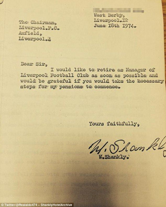 REVEALED Bill Shanklyu0027s letter of resignation as Liverpool - membership resignation letter