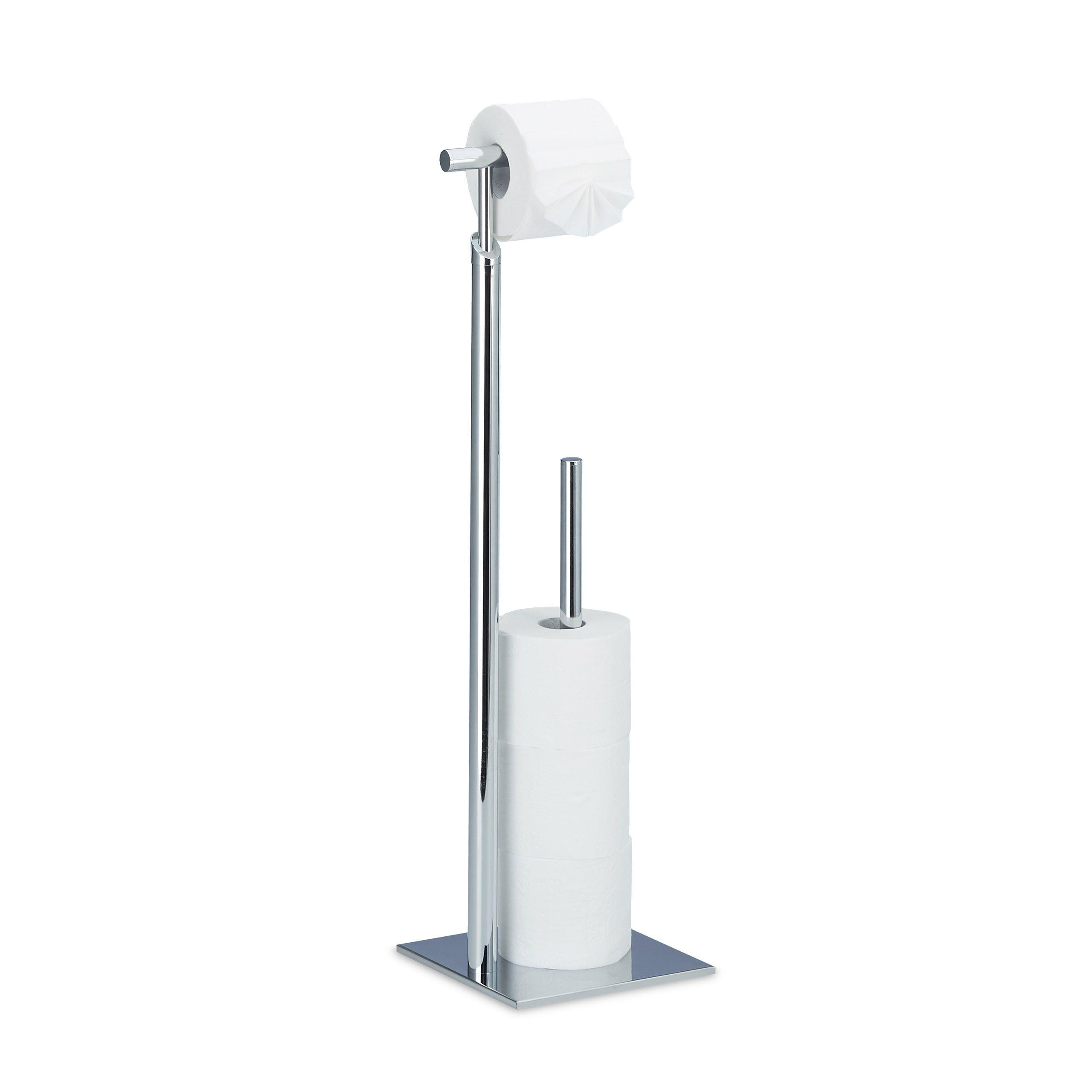 Toilettenpapierhalter Stehend 2 In 1 Fur 1 Wc Rolle Und 4 Ersatzrollen Freistehend Rutschf Toilettenpapierhalter Stehend Toilettenpapierhalter Toilette