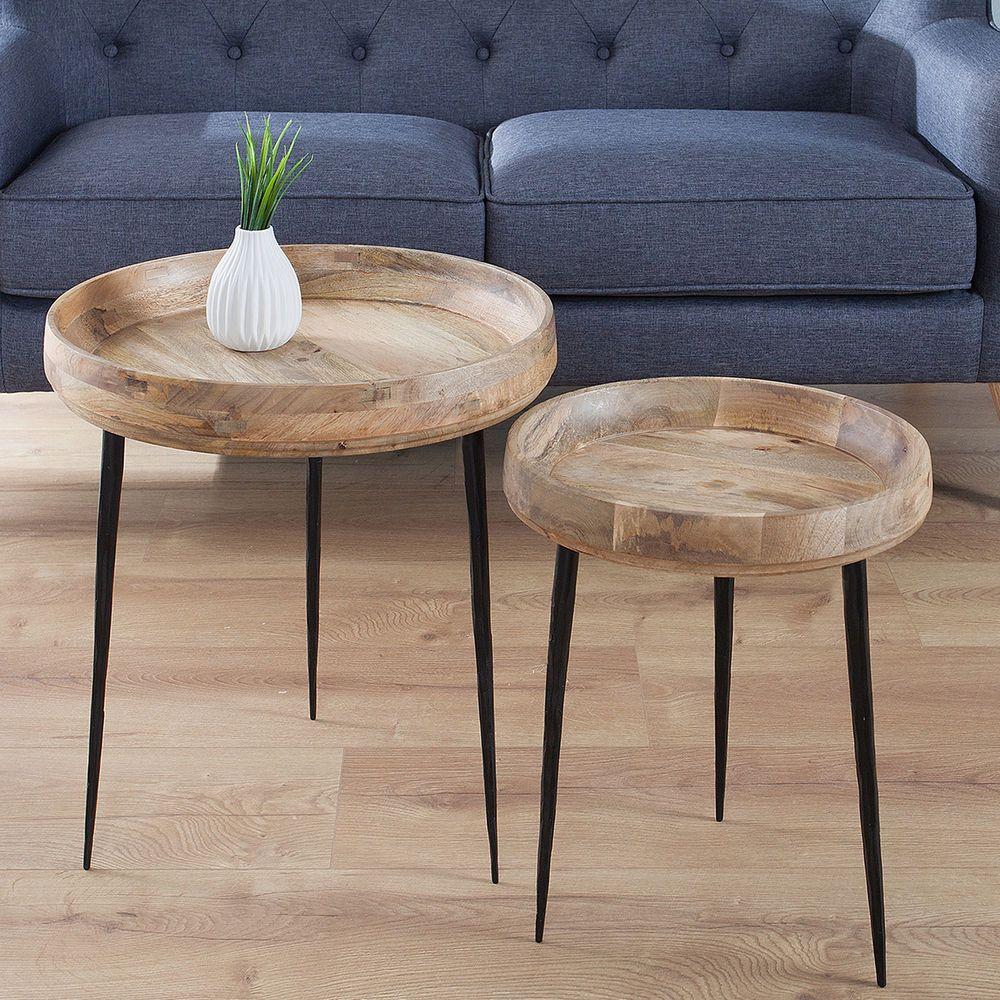 Design Beistelltisch Pure Nature Rund Mangoholz Couchtisch