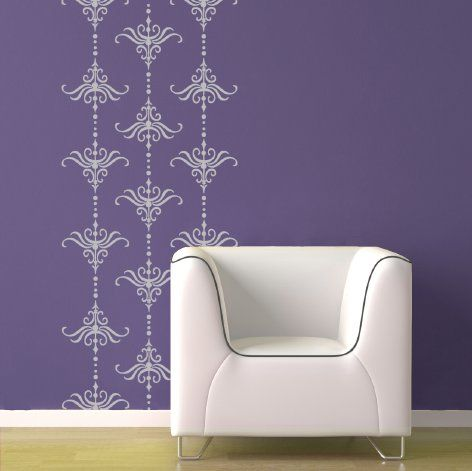 vintage damask stripe wall decals for accent wall behind crib & vintage damask stripe wall decals for accent wall behind crib | DIY ...