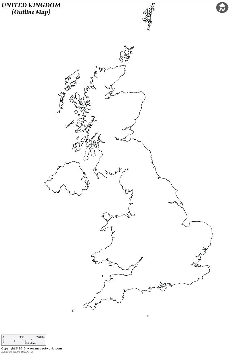 Outline Map of United Kingdom  geography  Pinterest
