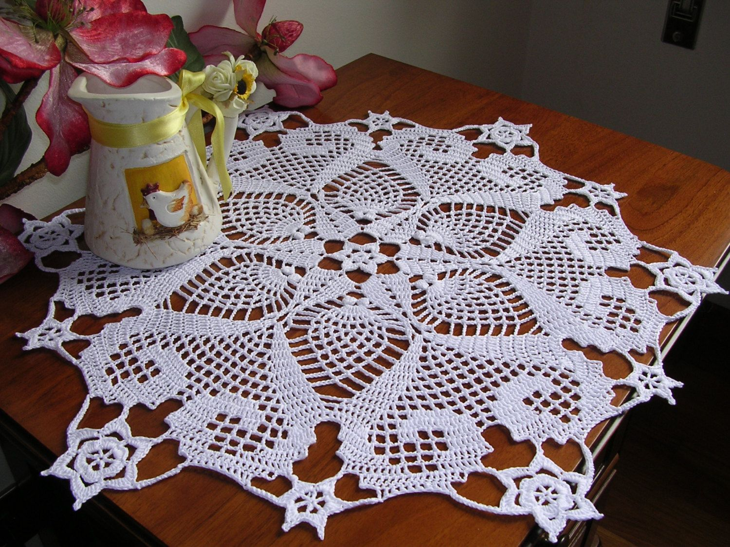 round lace doily crochet round easter centerpiece white