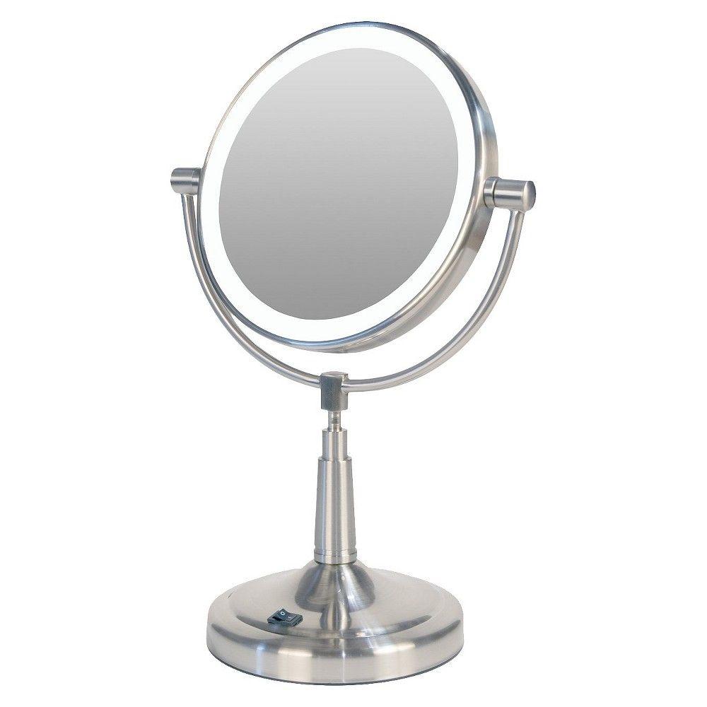Zadro Pedestal Vanity Mirror Satin Nickel Lighted