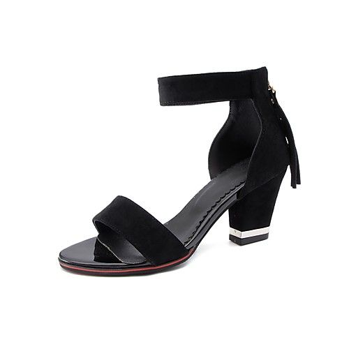 d6a482ee07f Women s Shoes Nubuck leather Summer Comfort Ankle Strap Sandals Chunky Heel  Open Toe for Dress Party
