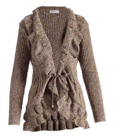 63ac22a163 Look what I found on  zulily! Taupe   Black Marl Ruffle Cardigan ...