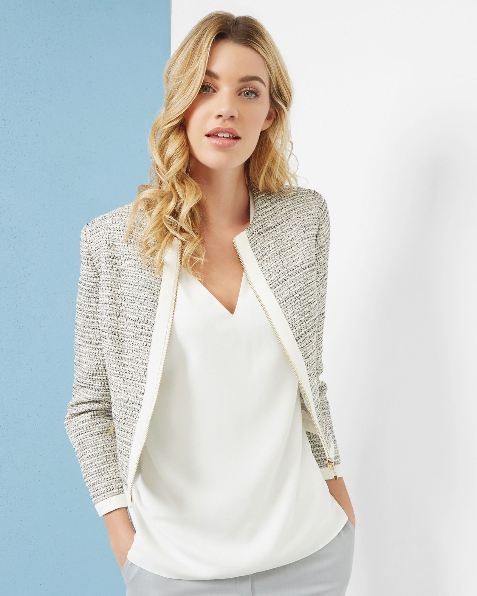 e57b4555df Ted Baker PREYAA Cropped sparkle boucle jacket  ad