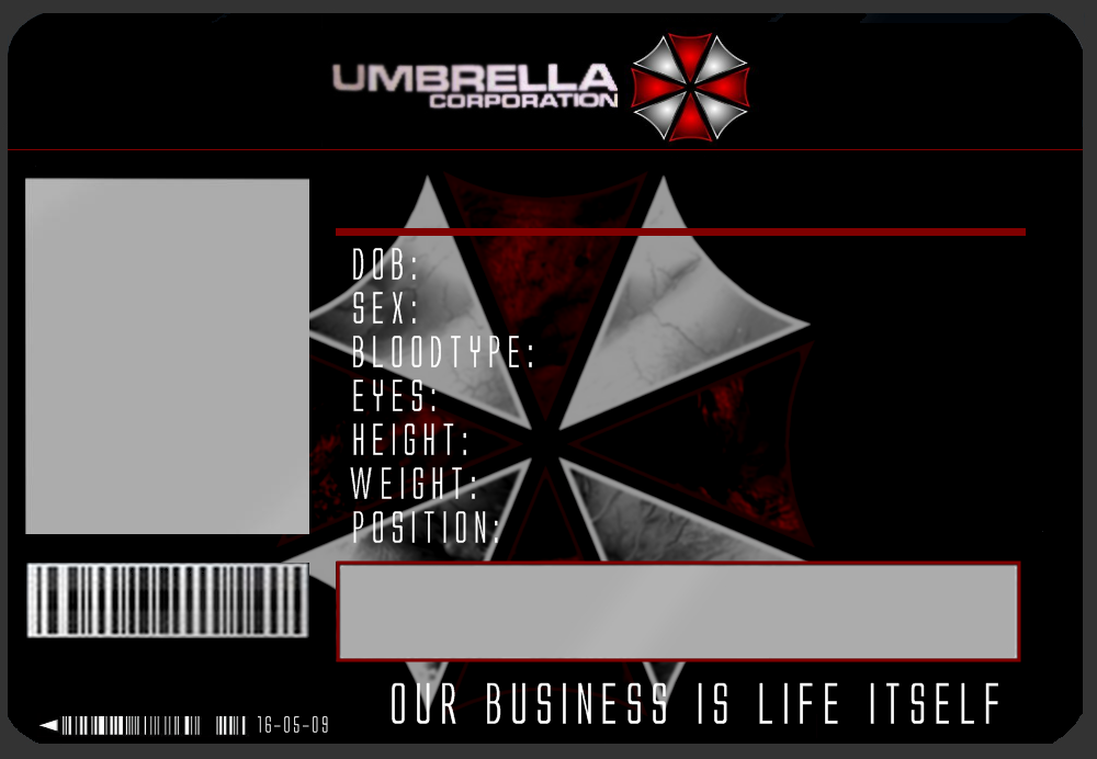 Umbrella Id Card Template By JJJoker On Deviantart  Cosplay Id