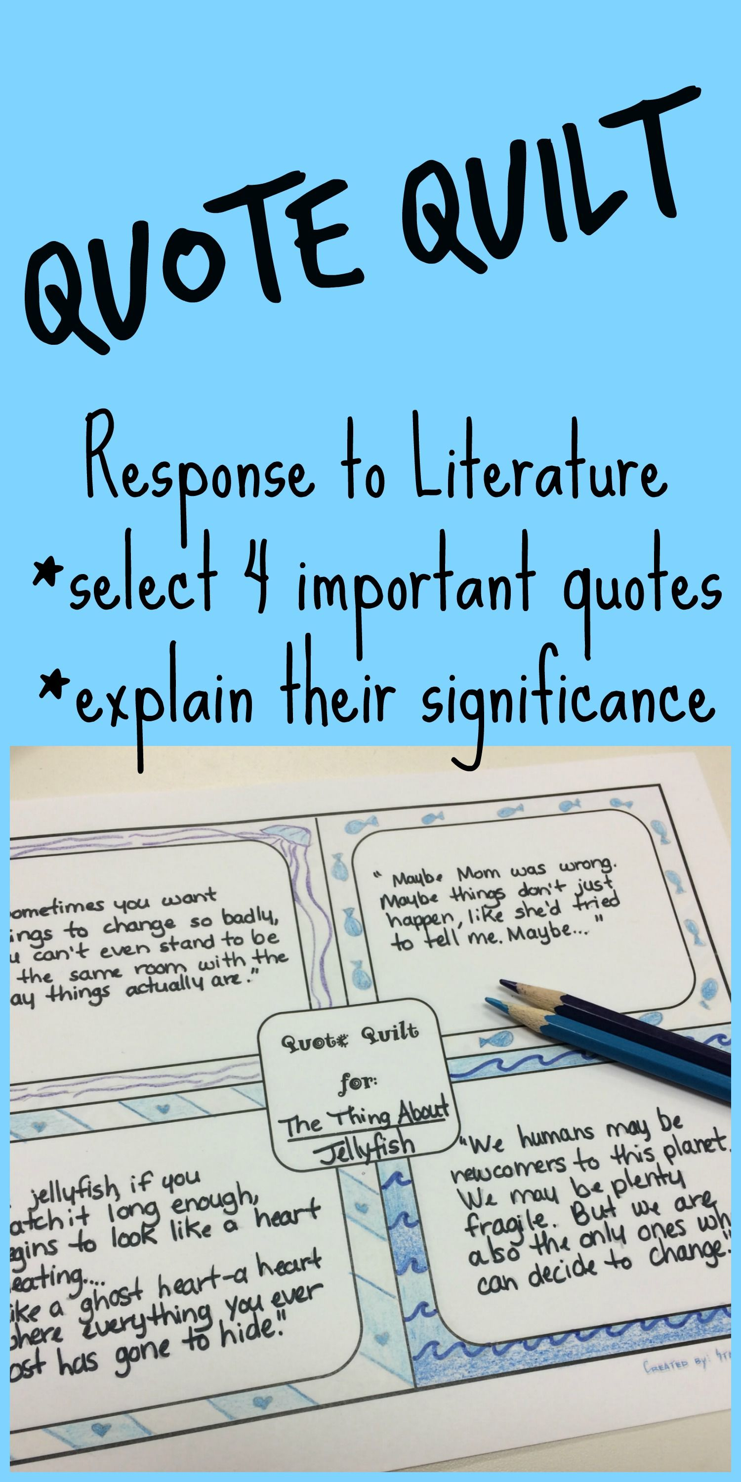Quote Quilt ELA Book Reading Response to Literature Novel Book Study Citing  Cite Text Evidence Reading Connections Critical Thinking Character Study ...