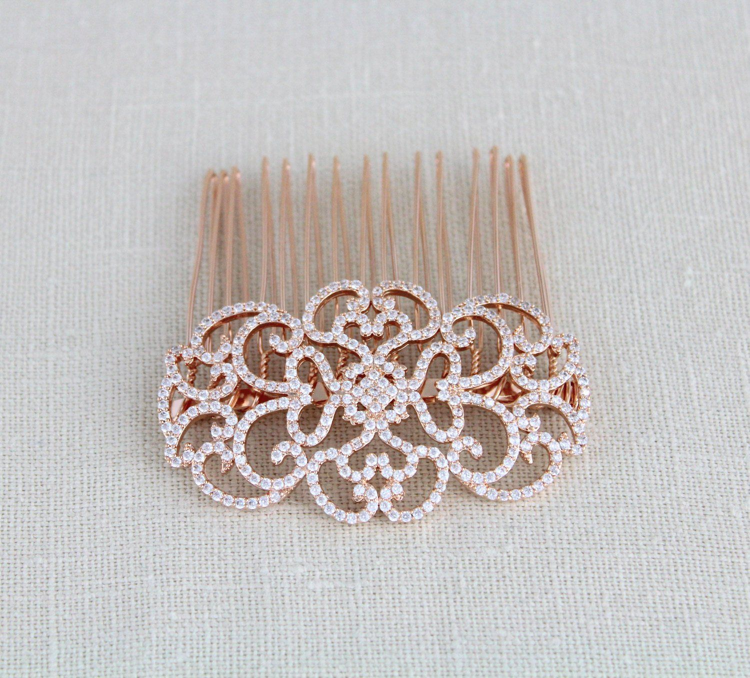 Rose gold hair comb bridal hair comb wedding headpiece rose gold