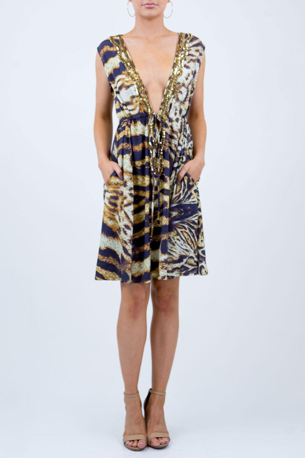 Black Animal Embellished Dress - Designer Women s Clothing - Shahida Parides 6d9426df1b