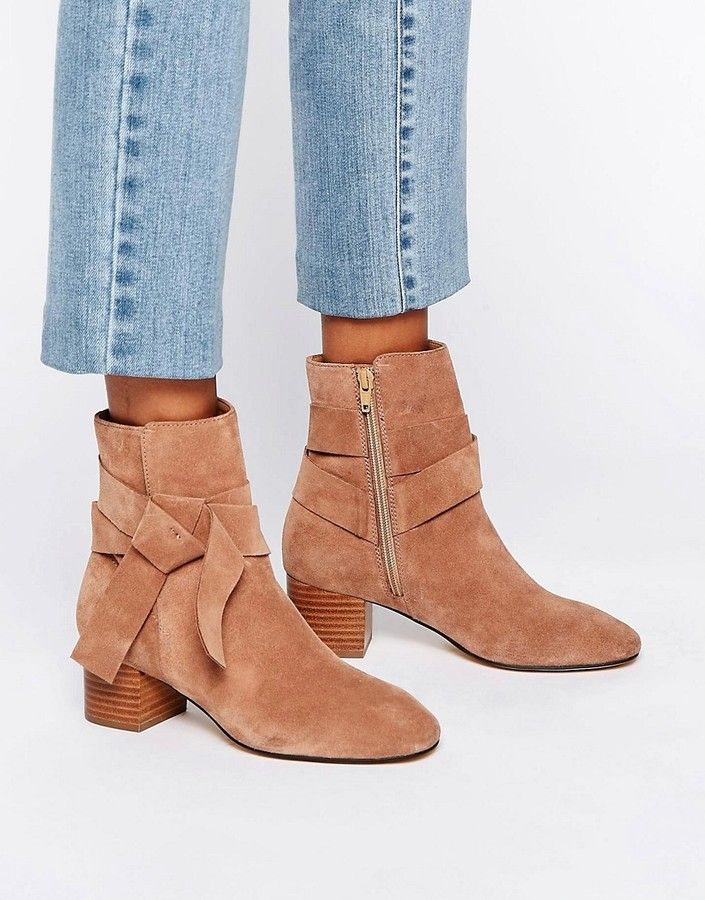 a99294ef1dc ASOS RENZEL Suede Bow Ankle Boots | styleLust | Nude boots, Suede ...