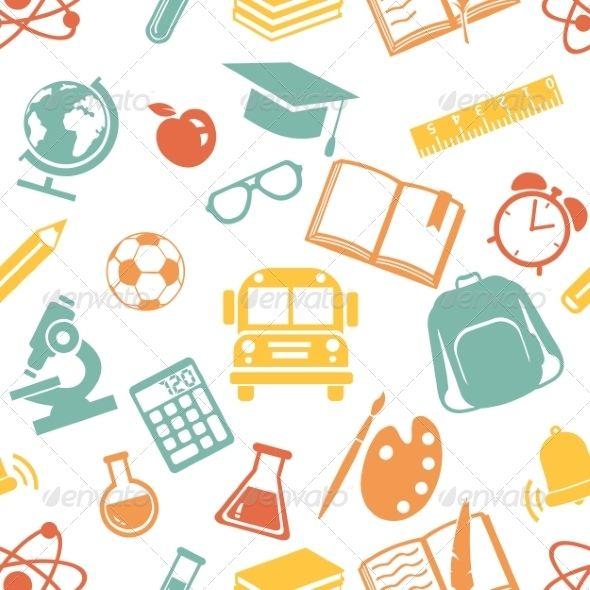 Seamless Pattern of School Symbols