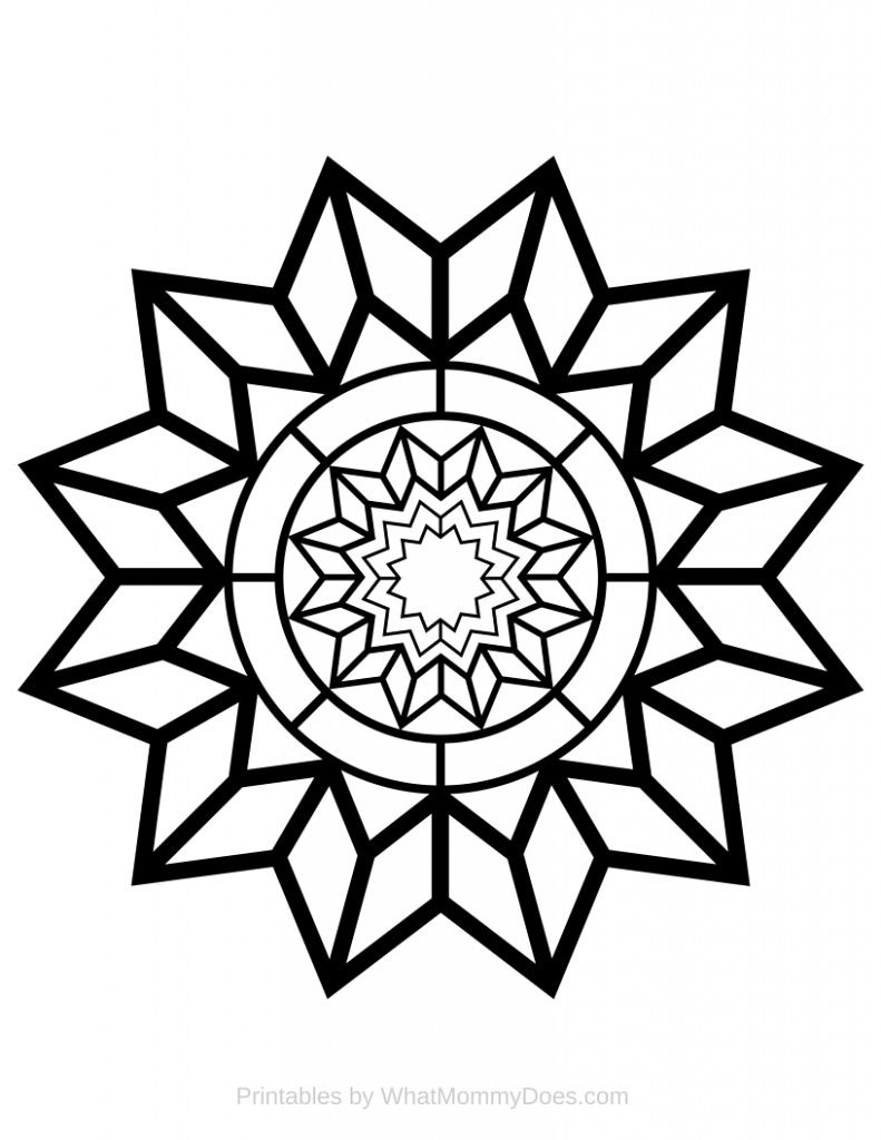 Free Printable Adult Coloring Page Detailed Star Pattern Star