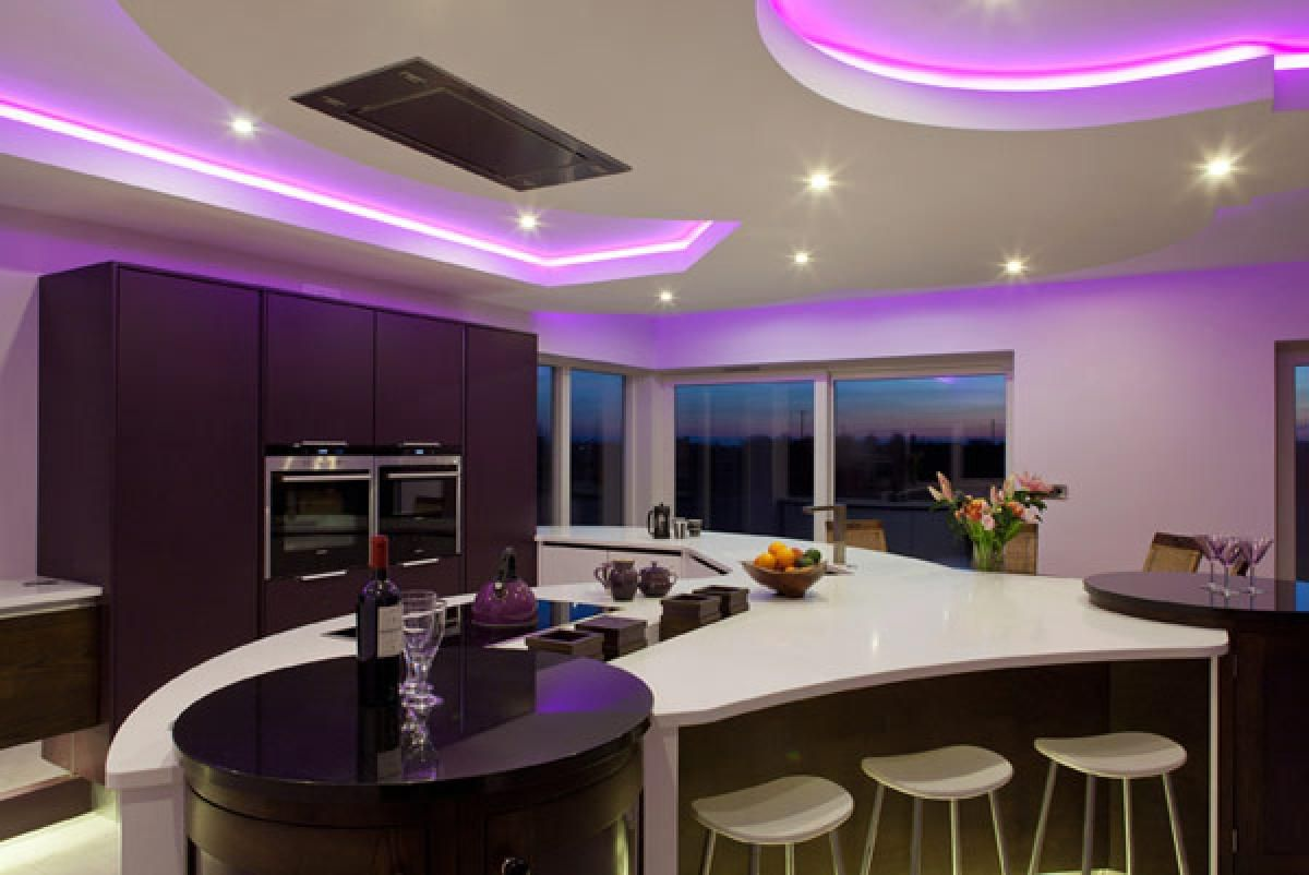 Simple Purple Kitchens Inspirations Home Designs: Elegant Ceiling In The Purple  Kitchens With Round Black