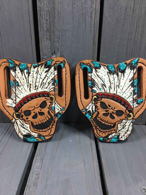 Custom headdress leather sheaths leather knife sheath