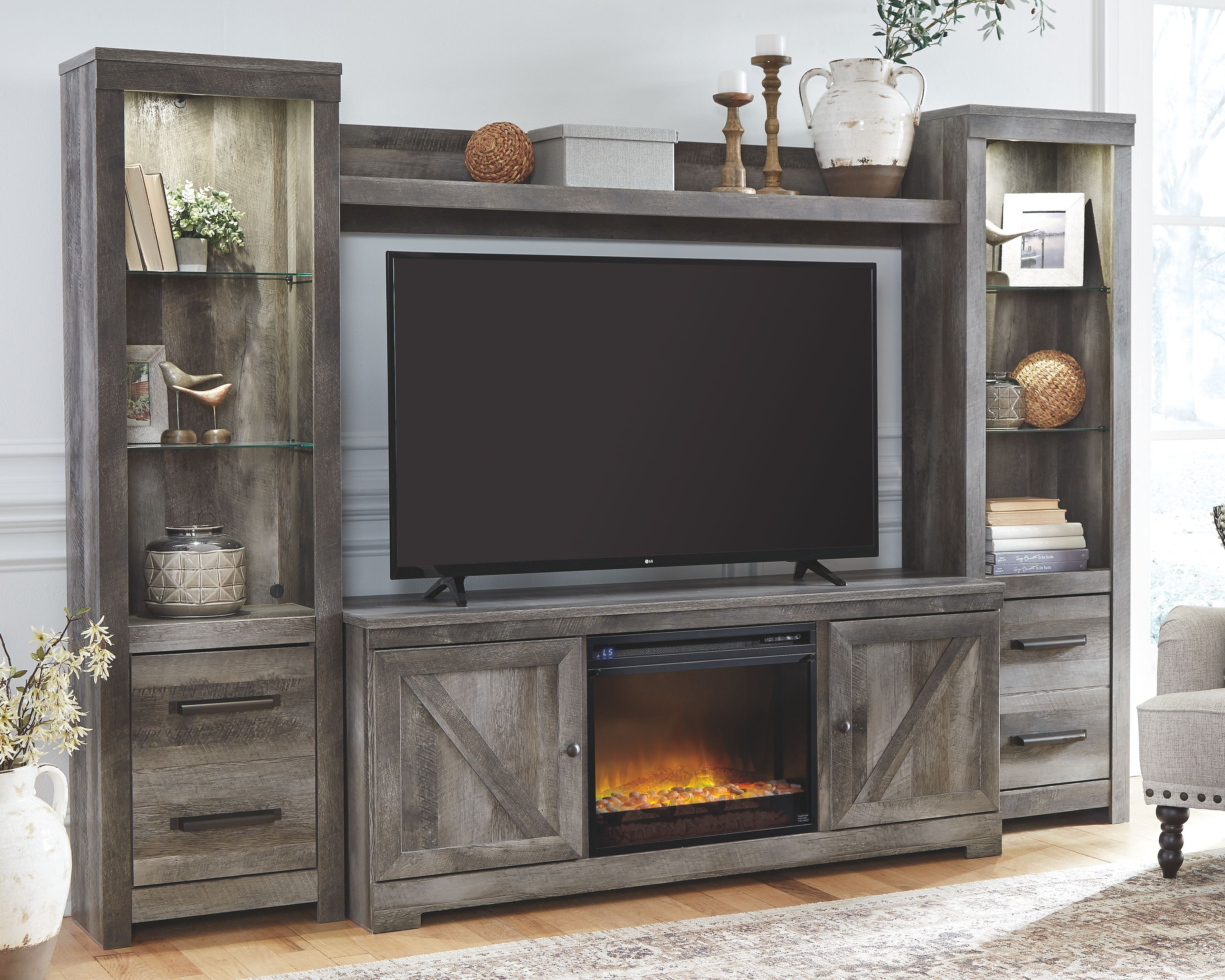 Wynnlow 4 Piece Entertainment Center With Fireplace Gray In 2020