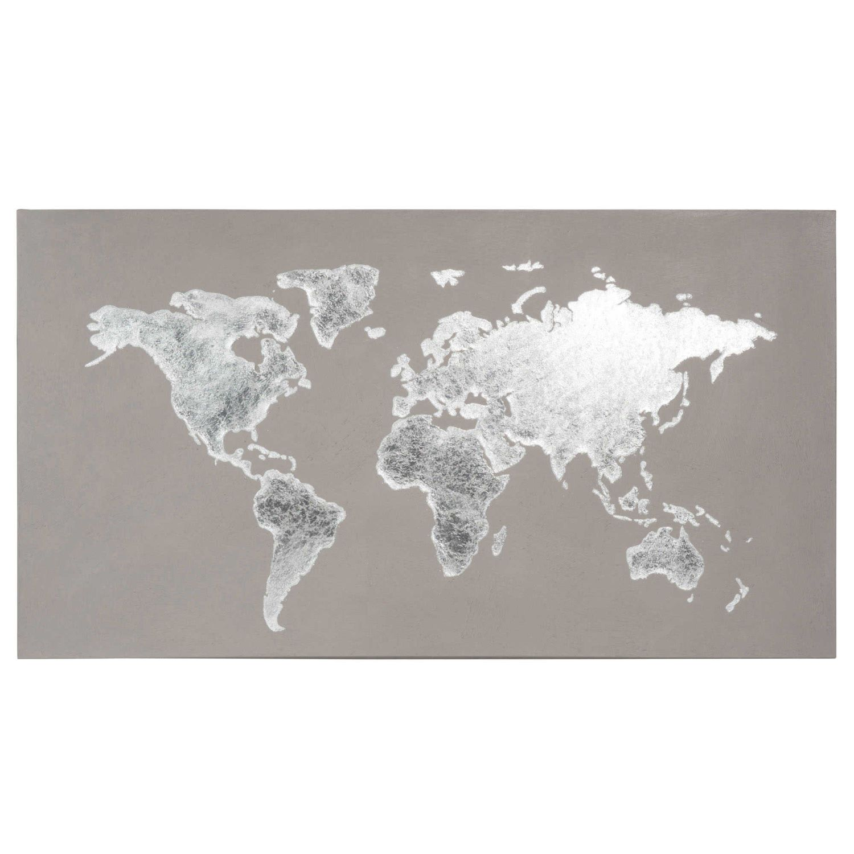 Graue Weltkarte Auf Leinwand 110x60   Maisons Du Monde
