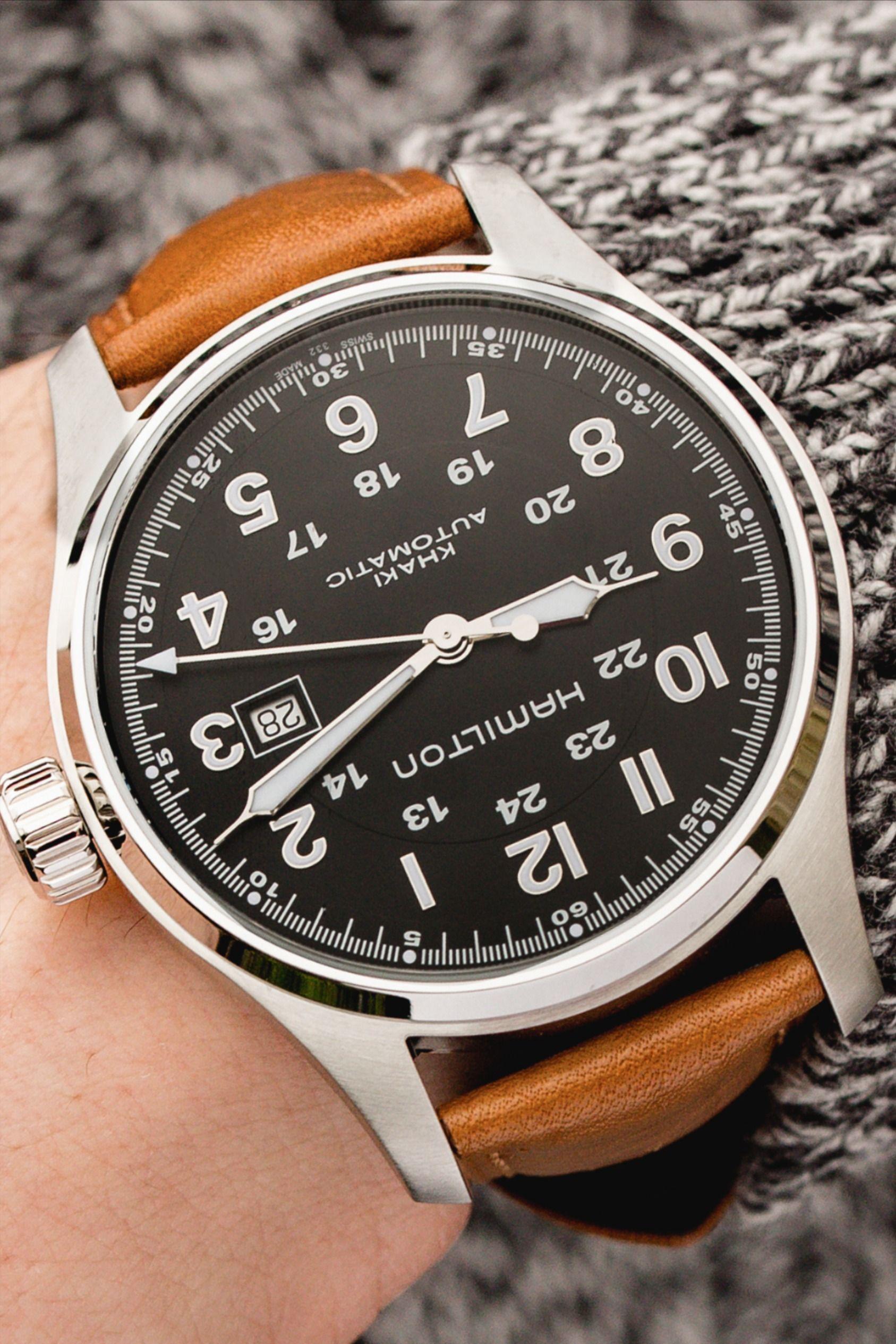 Hirsch camelgrain no allergy leather watch strap in brown