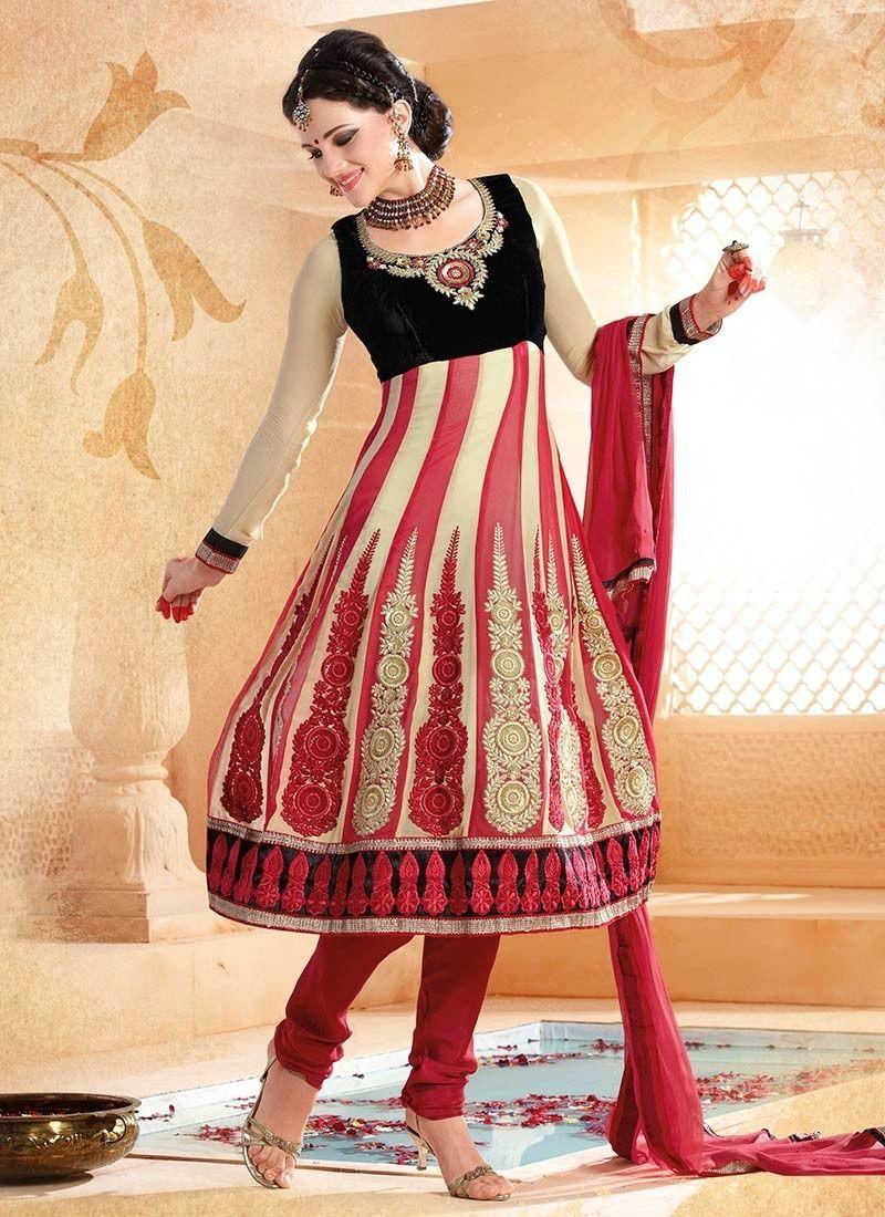Stylish cream and red anarkali suit churidar pinterest