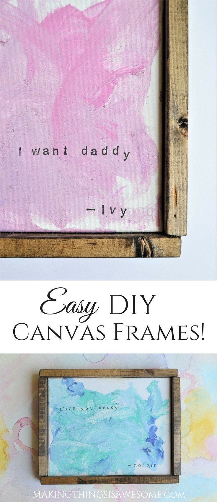 Canvas Painting Ideas for Kids With Easy DIY Canvas Frames is part of Kids Crafts Canvas Frames - This Canvas Painting Ideas for Kids is an awesome way to create kids art, that you actually want to hang on your walls! They also make an great DIY gift idea for all of your lovely friends and family!