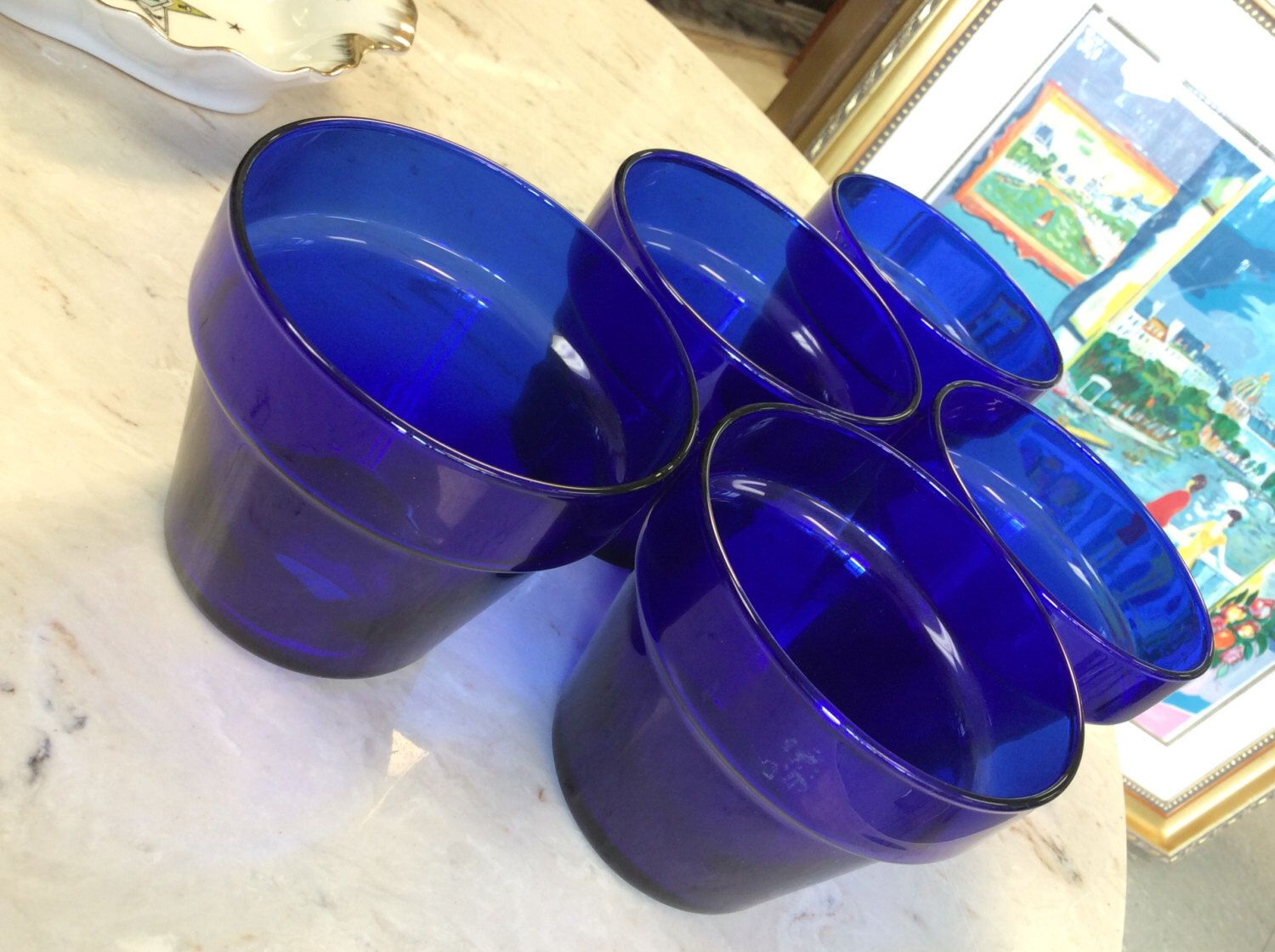 "5 Libbey Cobalt blue 3.5"" Glass Pot set by fabandaffordable on Etsy https://www.etsy.com/listing/401102001/5-libbey-cobalt-blue-35-glass-pot-set"