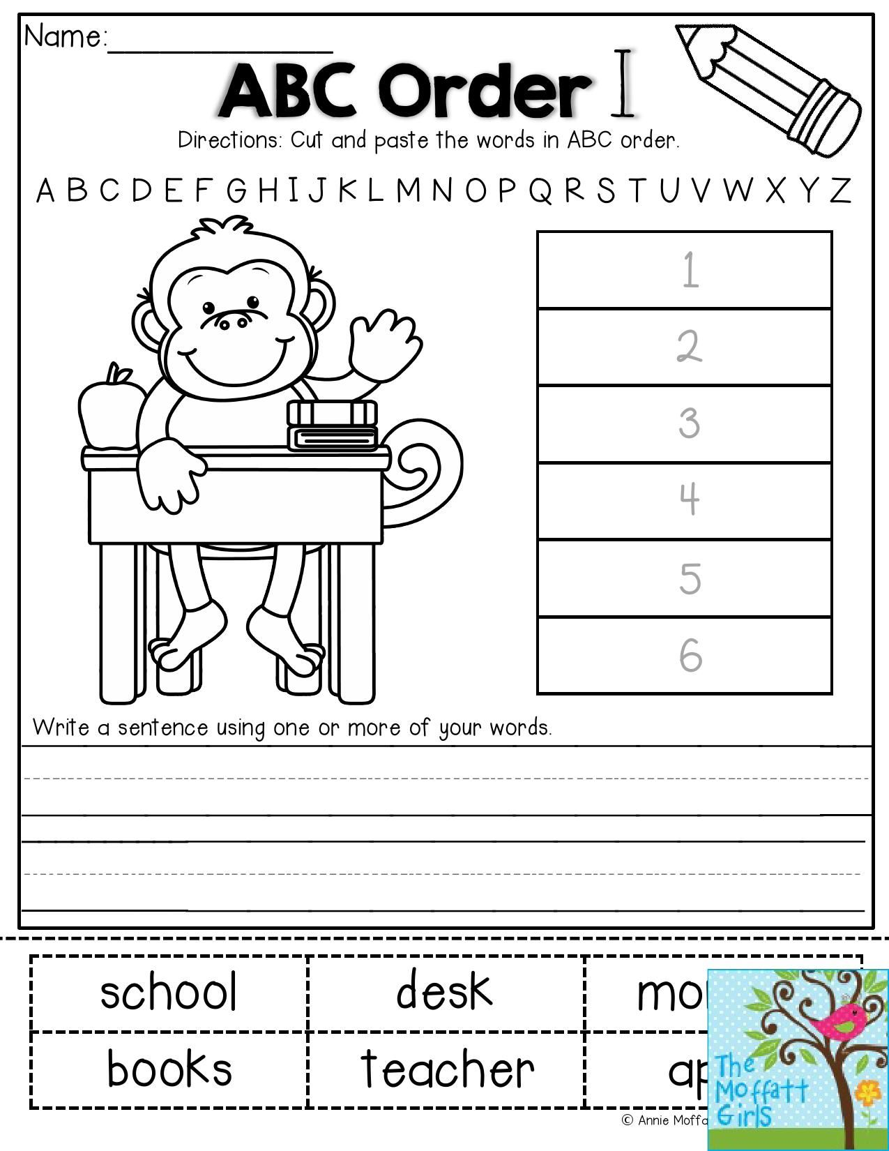 Worksheets Abc Order Worksheets 2nd Grade abc order cut and paste the words in alphabetical then write a sentence using back to school no prep packet