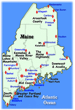 Maine Vacations Midcoast Southern Maine Maine Highlands Maine - Maine lakes map