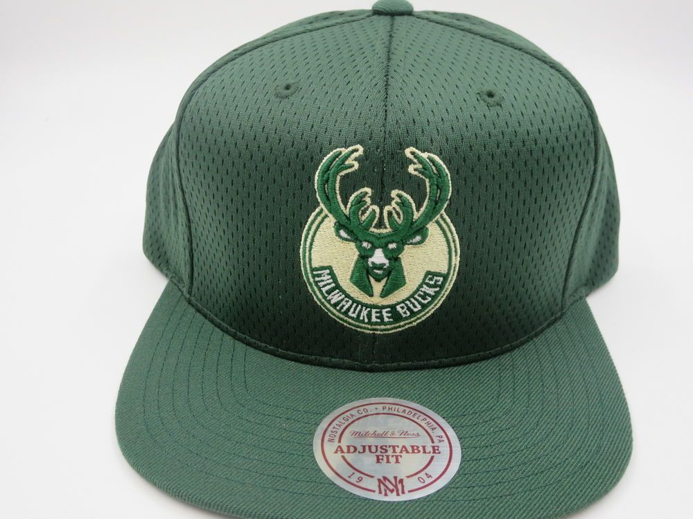 the latest 6fe1d b8725 Milwaukee Bucks Green Logo Throwback Mitchell   Ness NBA Snapback Hat Cap   MitchellNess  MilwaukeeBucks